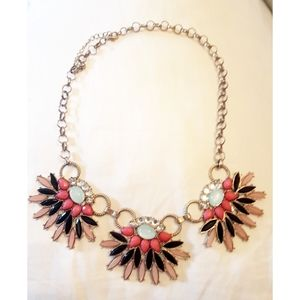 Statement Necklace Jeweled Pink Gold Black